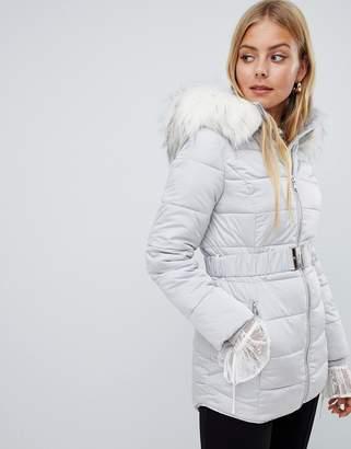 Miss Selfridge longline padded jacket with faux fur trim in gray