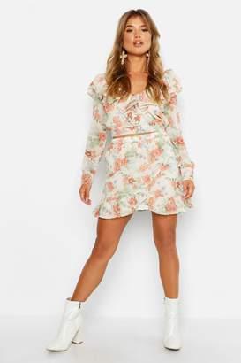 boohoo Chiffon Floral Ruffle Detail Skirt Co-Ord Set