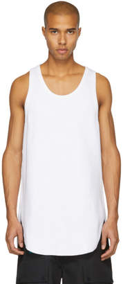 Name White Long Waffle Knit Tank Top