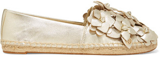 Tory Burch - Blossom Metallic Appliquéd Textured-leather Espadrilles - Gold $225 thestylecure.com