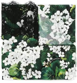 Dolce & Gabbana white geranium printed scarf