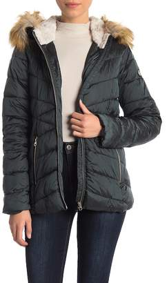 Jessica Simpson Cozy Teddy Faux Fur Trim Hooded Jacket