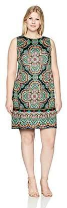 London Times Women's Plus Size Sleeveless Round Neck Cotton Shift Dress
