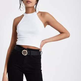 River Island Womens White ribbed halterneck crop top