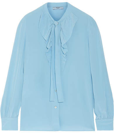 Prada - Pussy-bow Ruffled Silk Crepe De Chine Blouse - Light blue