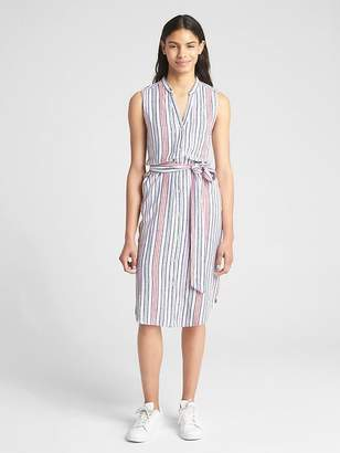Gap Sleeveless Stripe Midi Shirtdress in Linen