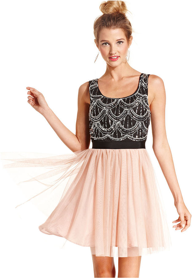 As U Wish Juniors Dress, Sleeveless Sequin Tulle