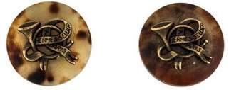 Hermes Sellier Horn Clip-On Earrings