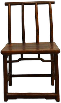 One Kings Lane Vintage Antique Elm Wood Side Chair - FEA Home