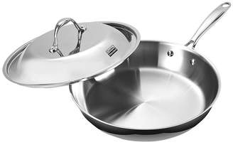 "Cooks Standard 12"" Multi-Ply Clad Stainless Steel Fry Pan with Dome Lid"