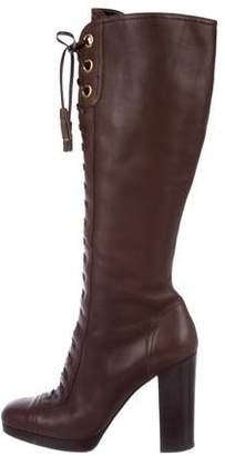 Miu Miu Knee-High Lace-Up Boots