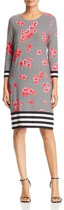 Calvin Klein Striped Floral-Print Dress