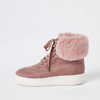 River Island Dark pink lace-up faux fur trims boots