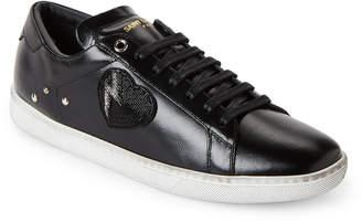 Saint Laurent Black Beaded Lightning Heart Court Classic Low-Top Sneakers