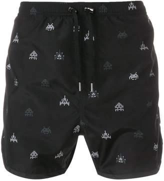 Neil Barrett Space Invaders print swim shorts