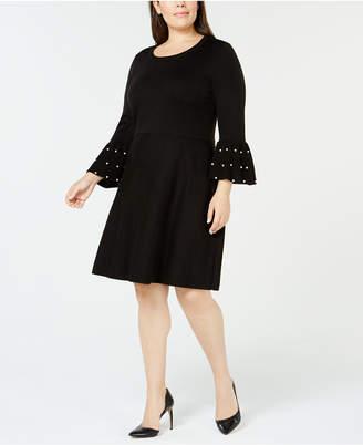 Jessica Howard Plus Size Embellished Bell-Sleeve Sweater Dress