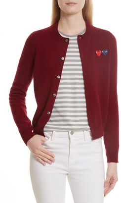 Women's Comme Des Garcons Play Double Heart Wool Cardigan $332 thestylecure.com