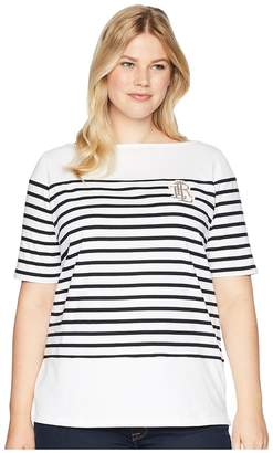 Lauren Ralph Lauren Plus Size Striped Bullion Jersey Top Women's Clothing