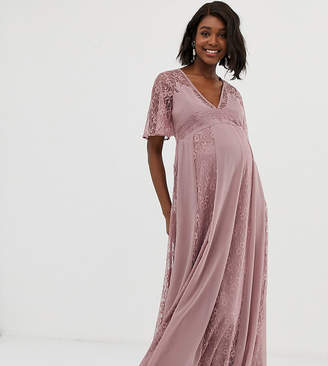 Asos DESIGN Maternity maxi dress with flutter sleeve and all over lace insert