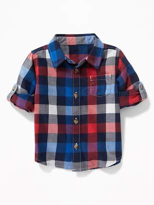 Old Navy Plaid Pocket Roll-Sleeve Shirt for Baby
