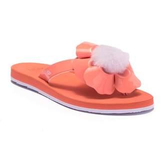 UGG Poppy Genuine Shearling Pompom Flip Flop
