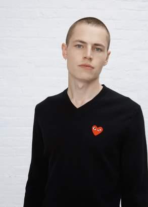 Comme des Garcons Red Heart V-Neck Pullover