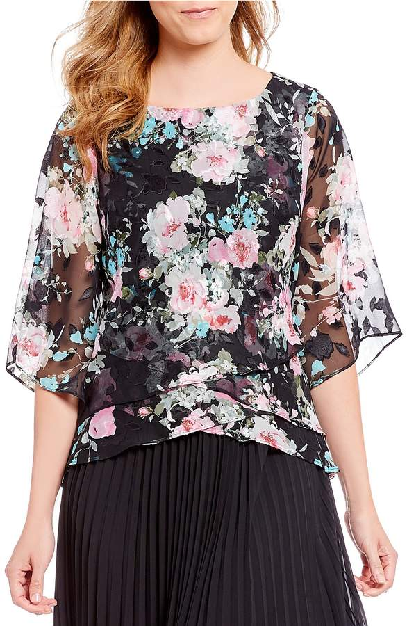 Alex Evenings 3/4 Illusion Sleeve Floral Print Asymmetric Tiered Blouse