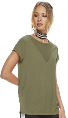Madden NYC Juniors' Mesh Yoke Solid Tee $30 thestylecure.com