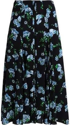 Emilia Wickstead Pleated Floral-Print Crepe De Chine Midi Skirt