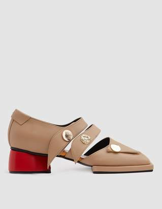 Reike Nen Mandoo Two-Strap Loafer in Beige/Red