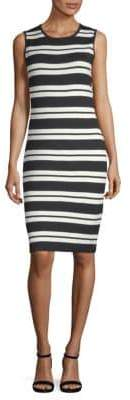 St. John Wool-Blend Striped Sheath Dress