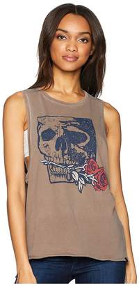 Hurley Skull Rose Washed Biker Tank Top Women's Sleeveless