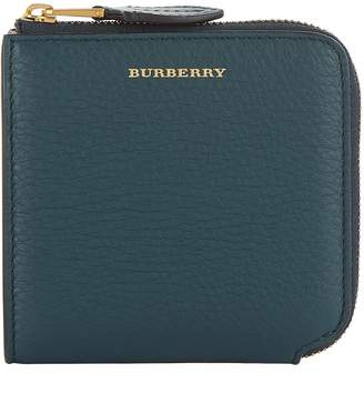 Burberry Leather Square Zip Around Wallet