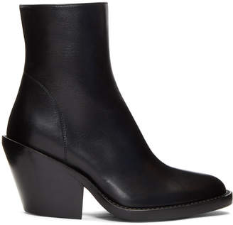 Ann Demeulemeester Black Leather Side Zip Boots