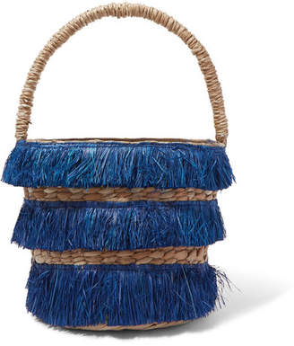 Kayu Lolita Mini Fringed Woven Straw Tote - Navy