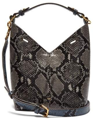 Anya Hindmarch Build A Bag Python Effect Mini Leather Tote Bag - Womens - Blue Multi