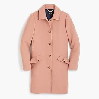 J.Crew Petite topcoat with ruffle pockets in Italian double cloth wool