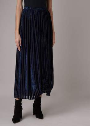 Giorgio Armani Long Skirt In Devore Velvet With Striped Print And Bow