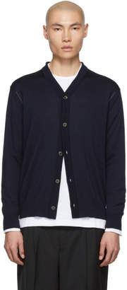 Comme des Garcons Homme Navy and Grey Worsted Wool Intarsia Cardigan