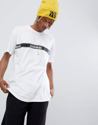Napapijri Sagar taped logo crew neck t-shirt in white tribe pack