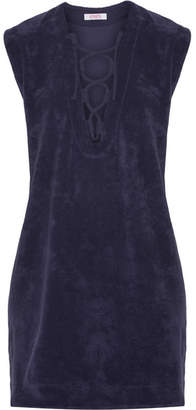 Eres Alison Lace-up Cotton-terry Dress - Dark purple