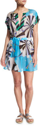 Emilio Pucci Parasol Hammered Silk Coverup Dress, Turquoise (Turchese)