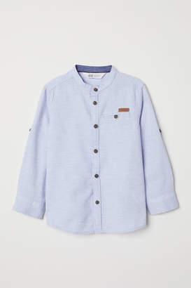 H&M Band-collar Shirt - Blue