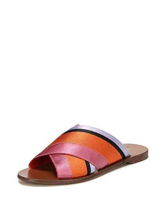 Diane von Furstenberg Bailie-3 Striped Crisscross Flat Slide Sandal