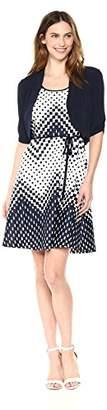 Sandra Darren Women's 2 PC Elbow Sleeve ITY & Scuba Fit & Flare Dress