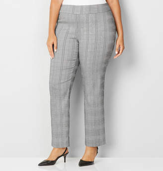 Avenue Grey Plaid Super Stretch Pull-On Pant