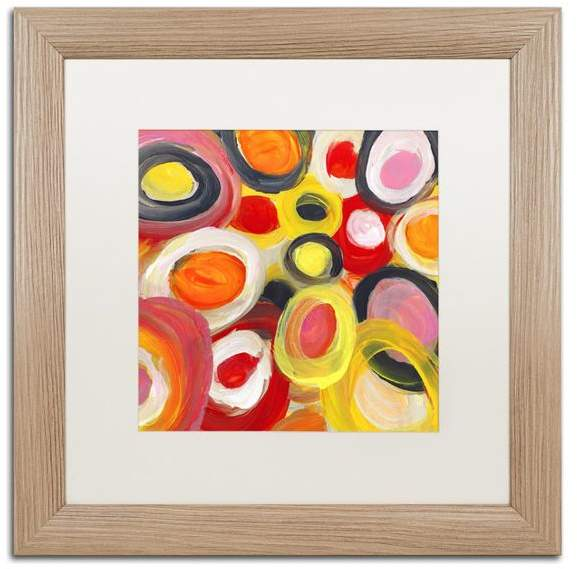 Trademark Fine Art 'Colorful Abstract Circles Square 1' Framed Art, Birch Frame, White Matte