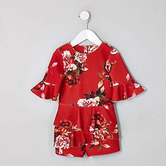 River Island Mini girls red floral frill skort playsuit