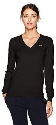 Lacoste Women's Classic Cotton V Neck Sweater