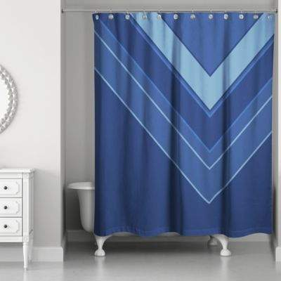 Asymmetrical Color Blocking Shower Curtain in Navy/Blue